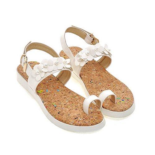AllhqFashion Damen Weiches Material Niedriger Absatz Sandalen Weiß