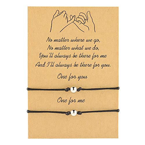 CheersLife Wish Relationship Matching Pulseras de cuerda hechas a mano BFF ajustable Pulseras de cuerda trenzada Regalos para el mejor amigo Pareja Hermana 2 piezas