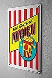 Blechschild Nostalgie Fun Deko heißes gebuttertes Popcorn Popcorntüte Metall Wand Schild 20X30 cm