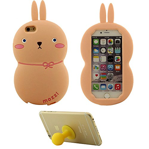 iPhone 6S Plus Coque iPhone 6 Plus Étui 3D Charmant Mignonne Lapin Doux Silicone Gel Coque Protection Case Noir pour Apple iPhone 6 Plus 6S Plus 5.5 inch avec 1 Silicone Titulaire Kickstand rose
