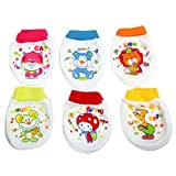 #6: Baby Bucket Soft Cotton Baby Boy's & Girl's Mittens set of 6 pairs (0-6 Months, Dark color)