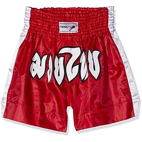 TurnerMAX - Pantalones cortos para Muay Thai y boxeo, color rojo rojo rosso Talla:mediano