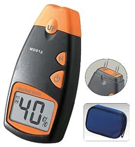 Pixtic MD812 Testeur d'humidité pour mesureur d'humidité en bois LCD numérique Noir