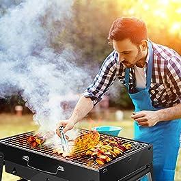 Barbecue Carbone, Barbecue Portatile, Mini BBQ Carbonella, FishOaky BBQ Grill Pieghevole con Guanti Barbecue, Pinza, Spruzzatore di Olio per 3-5 Persone Cucinare all'aperto, Campeggio, Picnic