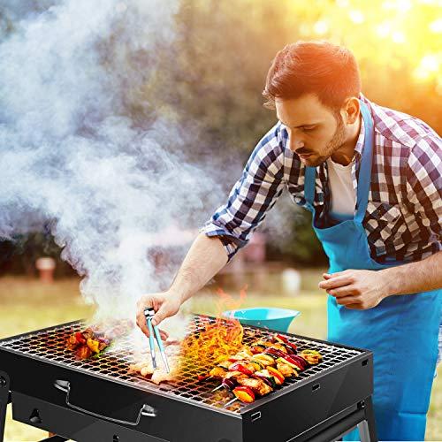 FishOaky Portable Grill, Mini BBQ Holzkohlegrill Edelstahl, Tragbar Klappgrill BBQ Camping Barbecue Grill Set mit Handschuhe+BBQ Zange+Ölsprüher für 2-3 Personen Outdoor Garten Party Beach Barbecue