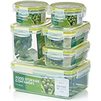 Zoë&Mii Premium 14 teilige Smart-Lock Deckel,Frischhaltedosen,Lock dosen,Vorratsdosen, Plastikboxen,Klick,Vesperbox,Set (14 Teilige)