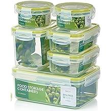 Zoe&Mii Premium 14 Pezzi (7 contenitori e 7 coperchi) con chiusura intelligente,  per alimenti in plastica.Tupperware, Lunch box. Buoni per conservare tutti i tipi di alimenti.