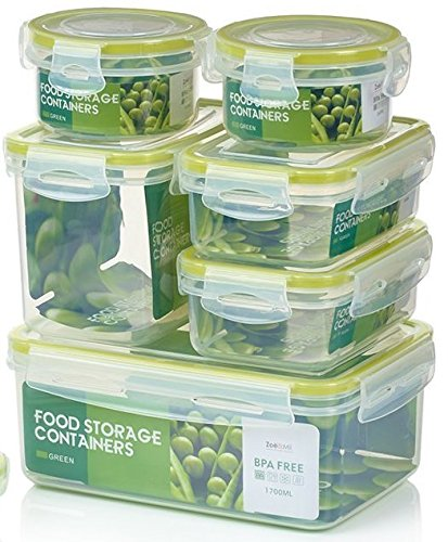 Zoë&Mii auslaufsichere Lebensmittelbehälter aus BPA-freiem Plastik - Hochwertige und luftdichte Meal Prep Boxen - 14-Teiliges Set als Vorratsdosen Snackbox Brotdose oder Lunchbox