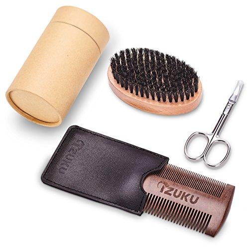 Brosse à barbe de sanglier naturel, Barbe peigne en bois, Ciseaux à Barbe acier...