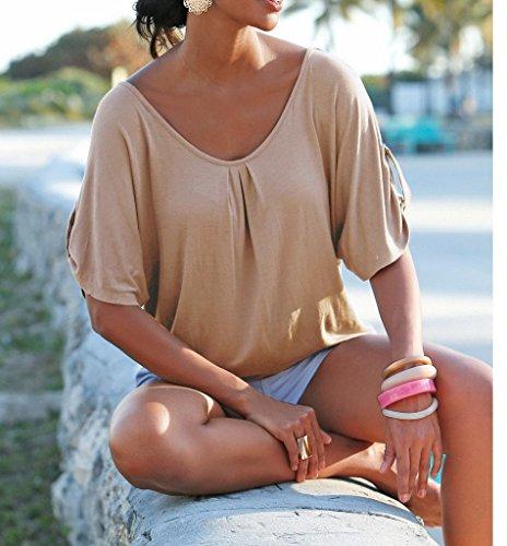 Bigood Femme T-shirt Dentelle Creux Blouse Rond Col Chemise Uni Kaki