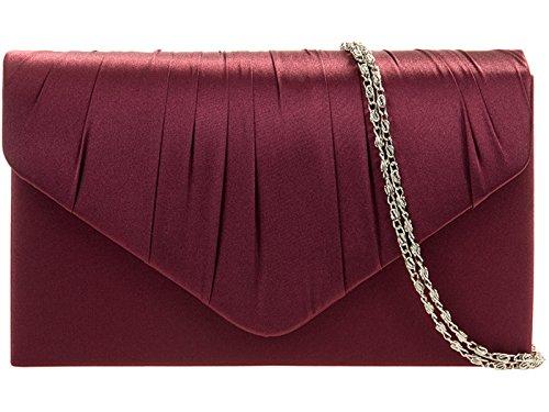 fi9® , Damen Clutch Mehrfarbig Maroon/Burgundy (Damen Maroon Handtasche)