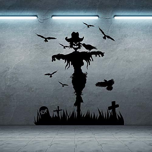 jiuyaomai Hexe Vögel Friedhof Wandaufkleber Für Wohnzimmer Hintergrund Halloween Urlaub Abnehmbare Wandtattoos Windows Art Aufkleber braun 57X65 cm
