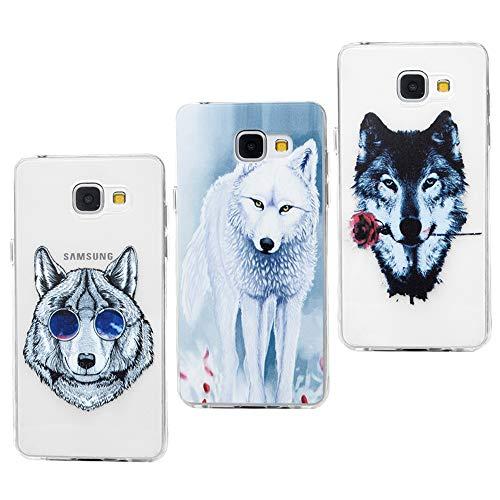 Funda para Samsung Galaxy A5 2016, Silicona Flexible Cascara Ultrafina Suave, Anti-Rasguño y Resistente Huellas, Premium TPU Cover Goma 3 Unidades - Gafas lobo gris+lobo rojo+lobo blanco