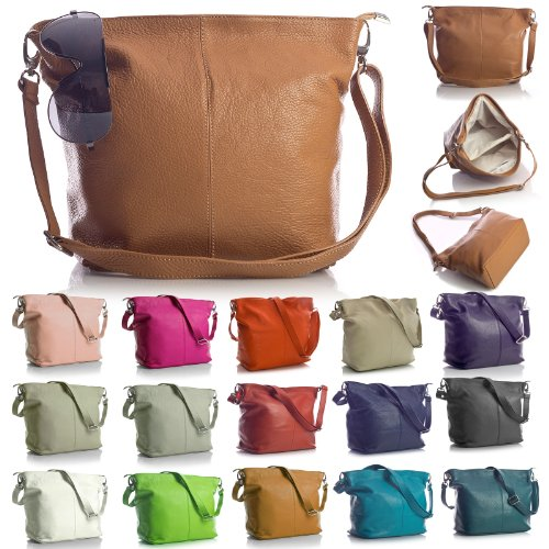Big Handbag Shop - Borsa a tracolla, da donna, formato medio, in vera pelle italiana Coffee