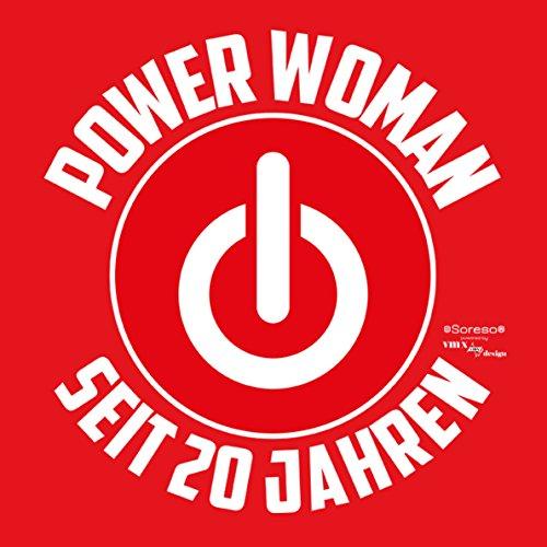 Geschenk für Frauen zum 20. Geburtstag Damen T-Shirt Girlie als Geschenkidee für Sie Power Woman seit 20 Jahren für Powergirl … Farbe: rot Rot