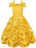 JerrisApparel Princesse Belle Hors épaule Couché Costume Robe Pour Little Girl (8 Ans, Jaune)