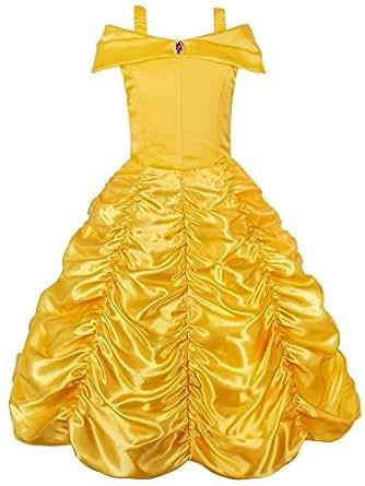 JerrisApparel Principessa Belle Carnevali Costume Vestito da ragazza (giallo, 2 anni)