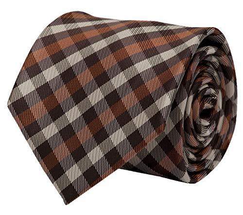 Fabio Farini karierte Krawatte klassisch 8 cm Breite, mit Karomuster in mehreren Farben für Weihnachten, Geburtstag, Hochzeit, Büro (Blau Beige kariert) - Streifen Krawatte