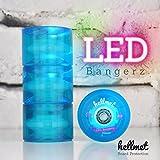 Hellmet LED Bangerz - LED Longboard Rollen - LED Longboard Wheels - NEU - Aqua Blau