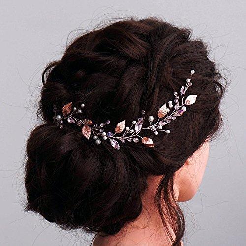 Kercisbeauty handgefertigtes Haarband im Vintage-Stil, für Hochzeit, Braut oder Blumenmädchen, Kristall-Blätter, Äste, Haarschmuck mit Schleife und Haarnadel