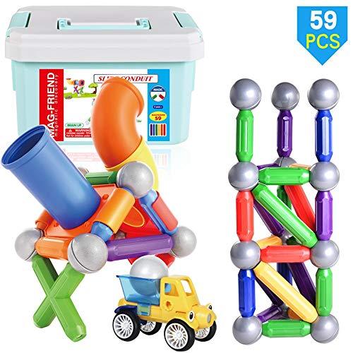Kinder pädagogisches spielzeug magnetstab kreativität bau montage bausteine   erstaunliche track ball eltern-kind interaktive stapeln spiel 59 stücke for jungen & mädchen box bausteine Magnetic Blocks