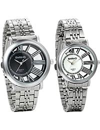 Jewelrywe Par de Relojes de Parejas Hombre Mujer Regalo de San Valentín, Reloj de Acero Inoxidable Diseño Único El SOL Esqueleto Hueco, Reloj Negro Blanco