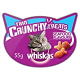 Whiskas Trio Crunchy Flavours Cat Treats Seafood, 55 g, Pack of 8