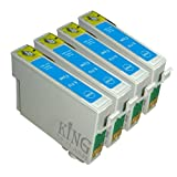 King of Flash Brand New 4 Cyan Compatible Printer Ink Cartridges For Epson T0712 - Epson Stylus D78, D92, D120, DX4000, DX4050, DX4400, DX4450, DX5000, DX5050, DX6050, DX7000F, DX7400. DX7450, DX8400, DX8450, DX9400, DX9400F, S20, S21, SX100, SX110, SZ105, SX115, SX200, SX205, SX209, SX210, SX215, SX218, SX400, SX405, SX405WIFI, SX410, SX415, SX510W, SX515W, SX600FW, SX610FW,BX310F,BX3450F, BX600FW, BX610FW,B40W