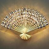 XIAOJIA Moderne kreative K9 Kristall Fan Wand Lampe Hotels Schlafzimmer Flur Flur Wohnzimmer Studiensaal Beleuchtung
