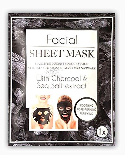 Holzkohle Gesichtsmaske mit Seesalz schonender Mitesser-Entferner / aus Holzkohle / Gesichtsmaske / reinigt die Poren / hilft gegen Akne und Hautunreinheiten / Tiefenreiniger / Remover Peeling Mask