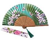 STHUAHE Ventaglio pieghevole, da donna, con motivo a orchidee in stile cinese/giapponese, idea regalo per il matrimonio, con struttura intagliata in bambù, 21 cm, Turpuoise