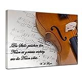 Leinwandbild mit Zitat - Die Stille zwischen den Noten ist genauso wichtig, wie die Noten selbst. - (Wolfgang Amadeus Mozart) 50x40 cm - Sprüche und Zitate - Kunstdruck mit Sprichwörtern - Vers - Bild auf Leinwand - Bilder als Leinwanddruck - Wandbild von Bilderdepot24