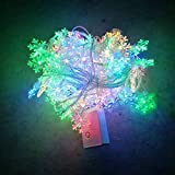 LED 10 m color snowflake string holiday party decoration lights AA battery lights, fairy lights, wedding lights, backyard lights, Christmas lights, outdoor decorative lights, interior dress lights, room bedroom decoration