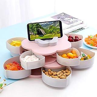WE-WIN Aufbewahrungsbehälter Servierplatte mit Fach für Trockenobst, Schmuck, Nüsse Süßigkeiten mit faulen Handyhalter