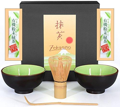 Matcha-Set 4-teilig, sommer-grün, bestehend aus 2 Matcha-schalen, Matcha-löffel und Matcha-besen (Bambus) in Geschenkbox. Original Aricola®