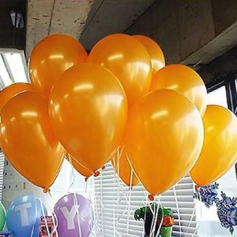Seguryy Sachet De 200 Ballons Nacrés Perle Latex–10pouces Ballons Décoration pour Anniversaire Mariage Soirée Partie (Orange)