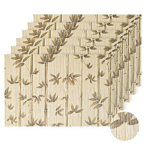 LOVECASA Bambus Platzset, 6 TLG. Set Tischmatte, 45 x 30 cm, Tischset