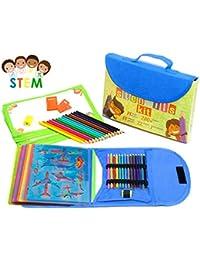 Trousse de pochoir de dessin pour enfants Grand 54 pièces | Assortiment d'activités ludiques pour voyage, étui de rangement avec plus de 280 formes, jouets de créativité| Excellent cadeau pour enfant