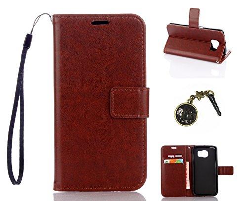 Preisvergleich Produktbild für Smartphone Samsung Galaxy S6 Hülle,Echt Leder Tasche für Samsung Galaxy S6 Flip Cover Handyhülle Bookstyle mit Magnet Kartenfächer Standfunktion + Staubstecker (5DD)