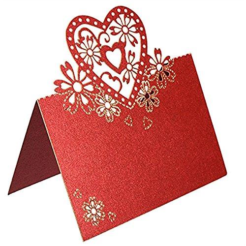 e Herz Hochzeit Party Tischkarten Favor Decor Rot (Herz-printable)