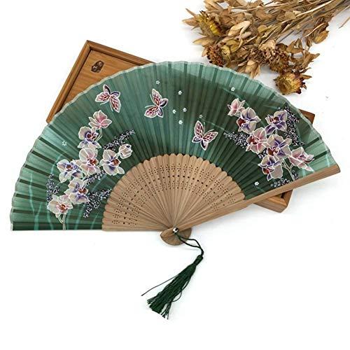 ZGDPLZS Faltfächer 10 Stück Stoff Blumen Schmetterling Falten Seide Hand Fan mit Quaste Event & Party Supplies Fiestas, 9 Fiesta 9