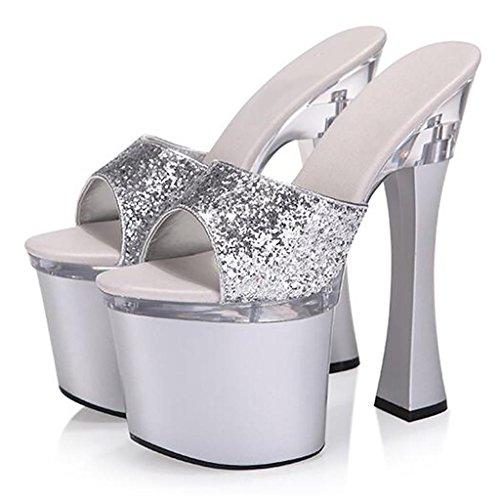 W&LMTacchi alti all'aperto ciabatte infradito Piattaforma impermeabile sandali Spessore inferiore Tacchi alti Scarpe Ruvido con Posto di lavoro posto di lavoro Silver