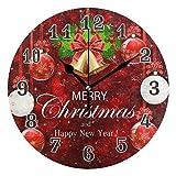 QMIN Wanduhr Schneeflocken Weihnachtsbälle goldene Glocken, runde Uhr geräuschlos, kein Ticken, leise Uhr für Schlafzimmer, Wohnzimmer, Küche, Büro, Home Decor
