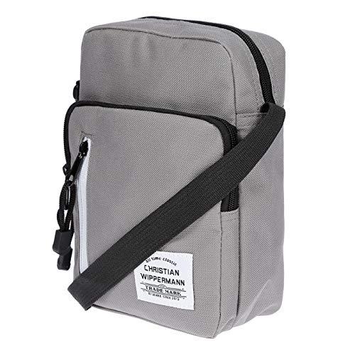 4a820df9bf800 Kleine Herren Damen Umhängetasche Schultertasche Tasche aus Nylon Maße  18x23x8 cm Grau