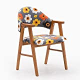 Stühle MEIDUO Haltbare Hocker Massivholz Esszimmerstuhl mit Armlehnen Studie Pad Rückenlehne viele Farben für den Innenbereich im Freien (Farbe : 7)
