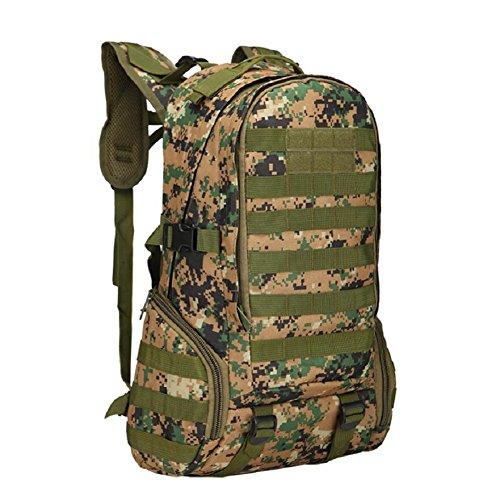 ZX&Q Bergsteigen Camping Outdoor Sport Trekking 40L Camouflage Nylon Wasserdicht Komfortable Belüftung Soft Tactical 3P Rucksack D