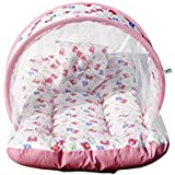 Baybee Toddler Mattress With Mosquito Net For Baby - Ideal For New Born Upto 12 Months Baby (Print May Vary) (Pink)