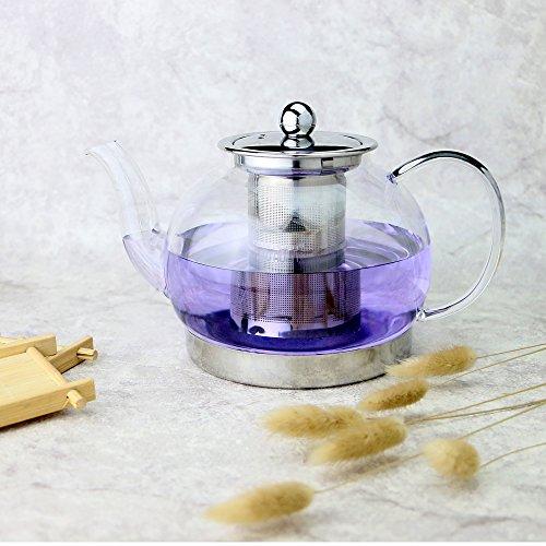 Toyo Hofu klar Glas hitzebeständig Teekanne mit-Ei, Induktion Herd Wasserkocher Drücken pot, durchsichtig, 1200ml Wasserkocher Für Den Herd