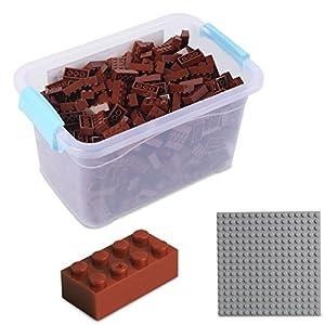 Katara Juego De 520 Ladrillos Creativos En Caja Con Placa De Construcción 100% Compatibles Con Lego Classic, Sluban, Papimax, Q-bricks, Color Marrón (1827)