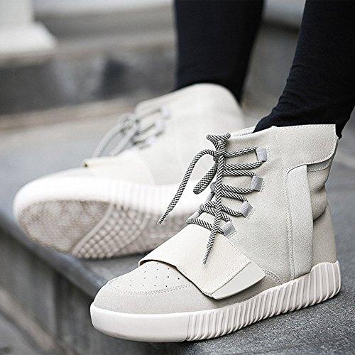 Chaussure de coton sportif basket mode velours chaude compensé pour amoureux homme femme adulte mixte Beige